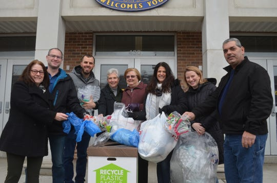 Township and borough officials and Green Team Members from Scotch Plains and Fanwood. Pictured (left to right) are: Pat Hoynes, Fanwood; Caleb Cohen, Fanwood Green Team; Dave Scordato, Fanwood Green Team; Patricia Walsh, Fanwood councilwoman; Katherine Mitchell, Fanwood councilwoman; Margaret Heisey,  deputy municipal manager, Scotch Plains; Elizabeth Stamler, councilwoman, Scotch Plains; and Frank DiNizo, director, Public Works Scotch Plains.
