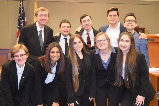 The 2020 Hunterdon Central Mock Trial Team. (Top row, left to right) John Thatcher, Noah Witherell, Michael Gilbert, Lucas Musto and Michael Febles. (Bottom row, left to right) Victoria Komonsinski, Selena Patel, Bianca Centamore, Briley Heider and Joy Papazian.