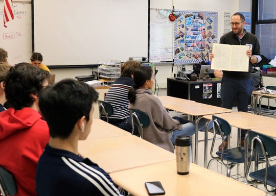 Rabbi Ethan Prosnit of Temple Emanu-El shared tenets of Judaism, including the Torah, with a Comparative Religions class at Westfield High School on Friday, Jan. 17.