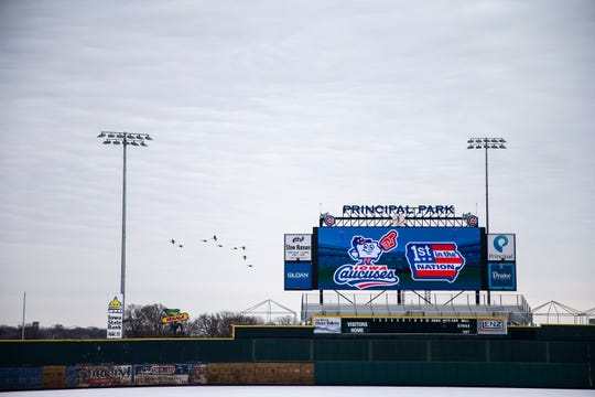 The Iowa Cubs Iowa Caucuses logo is displayed on the Principal Park video board on Caucus Day, Monday, Feb. 3, 2020 in Des Moines. The team played a game over the summer as the Iowa Caucuses.