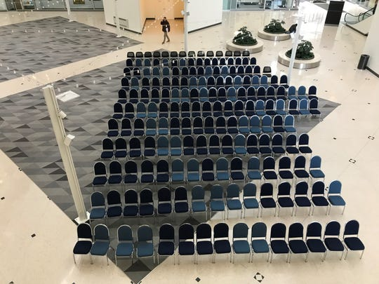 Organizers placed more than 180 chairs in the lobby of the Capital Square office building on Monday. The building will host downtown Des Moines' Democratic caucusgoers.