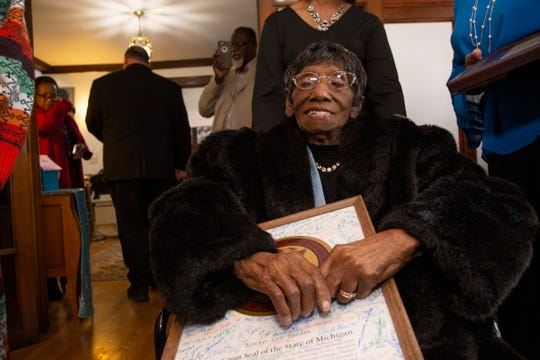 Motown gospel singer and matriarch Lois Holden was honored and celebrated for turning 110-years-old at the Detroit Association of Women's Clubs, Inc. in Detroit to help kick off Black History month Monday, Feb. 3, 2020. Holden was presented with the Great Seal of Michigan signed by over 110 officials by Rep. Isaac Robinson.