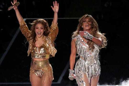 Singers Shakira and Jennifer Lopez perform during the halftime show at the NFL Super Bowl 54 football game between the San Francisco 49ers and Kansas City Chiefs', Sunday, Feb. 2, 2020, in Miami Gardens, Fla.