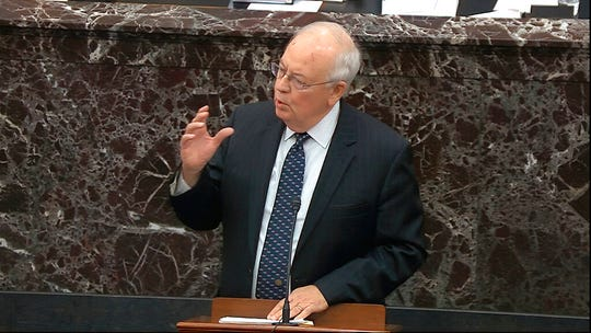 In this image from video, Ken Starr, an attorney for President Donald Trump speaks during closing arguments in the impeachment trial against Trump in the Senate at the U.S. Capitol in Washington, Monday, Feb. 3, 2020.