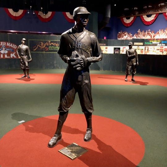 A bronze statue of Satchel Paige on the Field of Legends at the Negro Leagues Baseball Museum in Kansas City