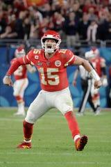 Kansas City Chiefs quarterback Patrick Mahomes (15) celebrates a long pass against the San Francisco 49ers during the second half.