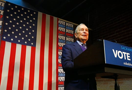 Democratic presidential candidate former New York City Mayor Michael Bloomberg addresses supporters during a campaign stop in Sacramento, Calif., Monday, Feb. 3, 2020.