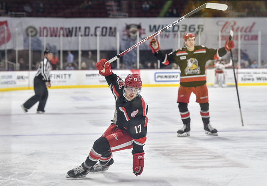 Grand Rapids forward Taro Hirose celebrates a goal in a 4-1 loss against Iowa.