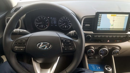 The 2020 Hyundai Venue SUV features a nicely designed interior with big knobs and lotsa standard tech.