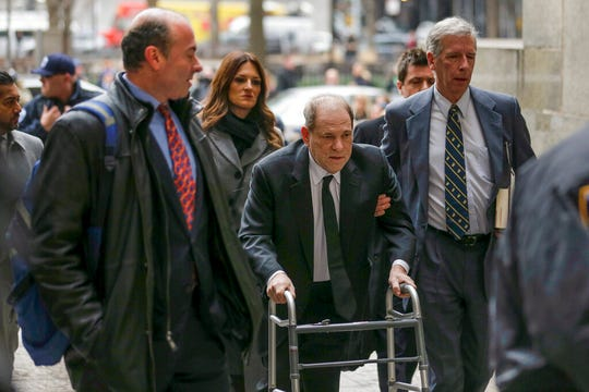 Harvey Weinstein, center, arrives at New York court, Monday, Jan. 6, 2020, in New York. The disgraced movie mogul faces allegations of rape and sexual assault.