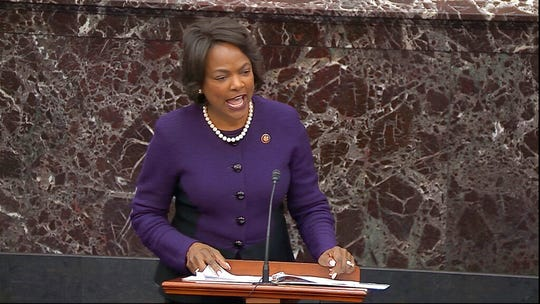 In this image from video, House impeachment manager Rep. Val Demings, D-Fla., speaks during closing arguments in the impeachment trial against President Donald Trump on Monday, Feb. 3, 2020.