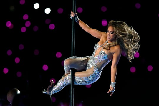 Jennifer Lopez performs during halftime of the NFL Super Bowl 54 football game between the San Francisco 49ers and the Kansas City Chiefs Sunday, Feb. 2, 2020, in Miami Gardens, Fla.
