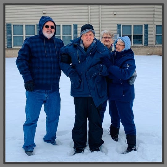 Pictured, from left, are Gary Scheer, Gene Scheer, Barb Drollinger and Annette Erickson. Gene, 90, made his first snow angel in late January with the help of his kids.