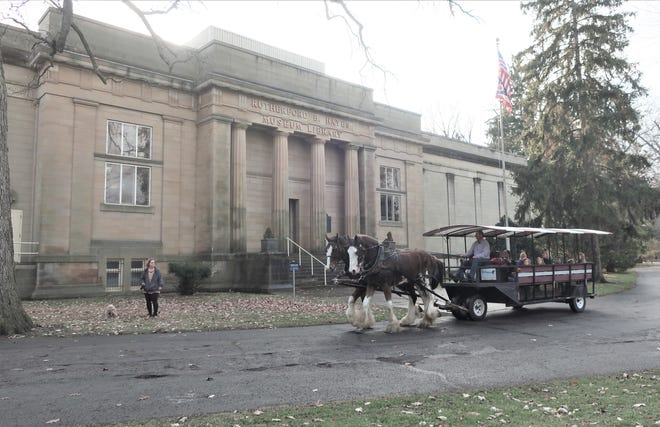 South Creek Clydesdales will give horse-drawn trolley rides from Saturday, Feb. 15 – Monday, Feb. 17, at the Hayes Presidential Library and Museums.