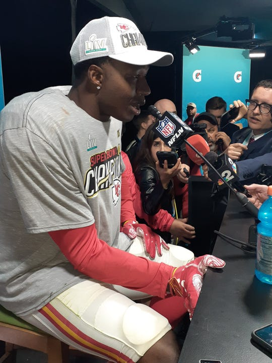 South Fort Myers High School graduate Sammy Watkins talking postgame at Super Bowl LIV after he and the Kansas City Chiefs beat the San Francisco 49ers 31-20 on Sunday, Feb. 2, 2020.