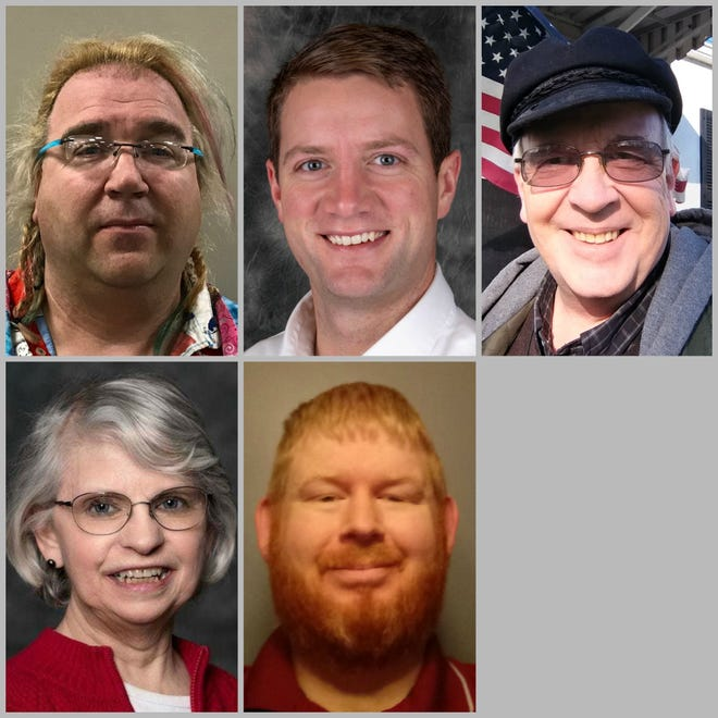 Candidates for the Green Bay City Council in the 6th district, from left. Top row: Boucher, Larsen, Lee. Bottom row: Lefebvre, Paradise