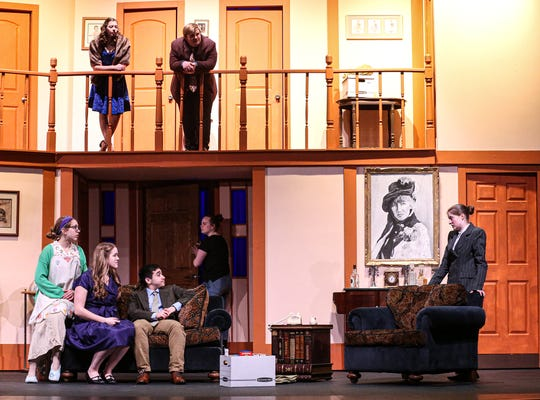 """Fond du Lac High School students rehearse their winter play """"Noises Off"""" on Jan. 30 in Fond du Lac High School's performing arts center. Top row are Kenzi Gibson and Joe Gutzmann. Bottom row, from left, are: Nora Otte, Lexi Krueger, Roan Henslin, Bailey Hambrick and Alaina Hart."""
