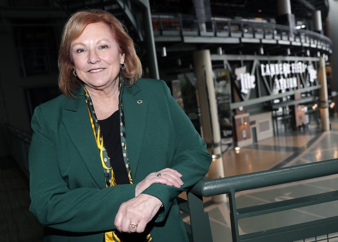 Susan Finco, member of the Green Bay Packers executive committee and board of directors, is pictured at Lambeau Field on Jan. 31, 2020, in Green Bay, Wis.