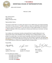 Above is a copy of the letter House Republicans sent Monday to Rep,. Rodney Garcia, calling on him to resign.
