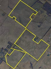 A close up of the three parcels of family farmland that will be up for auction off Holloway Lane and Rucker Road No. 1.