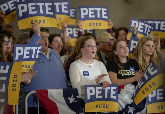Pete Buttigieg supporters at Kirkwood Hotel in Cedar Rapids, Iowa, Saturday, Feb. 1, 2020. The event is in advance of Monday's Iowa Democratic caucuses, the first event in the party's choosing of their nominee for president.