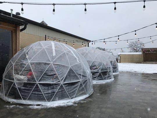 Heated igloos at Urban Vines in Westfield on Jan. 25, 2020