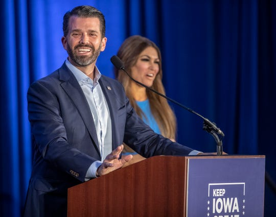 Donald Trump Jr., during a lighter moment at a Caucus Day event in West Des Moines, Iowa, Monday, Feb. 3, 2020. Democrats and Republicans caucus on the same day in the Hawkeye state.
