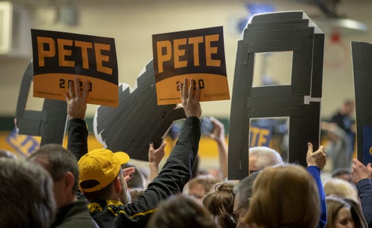 Pete Buttigieg supporters at Northwest Jr. High School in Coralville, Iowa, Sunday, Feb. 2, 2020. The event is in advance of Monday's Iowa Democratic caucuses, the first event in the party's choosing of their nominee for president.