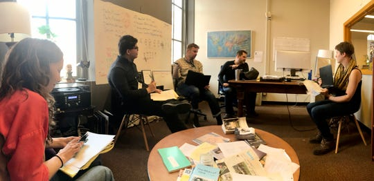 The news team at the Iowa City Press-Citizen prepare for Caucus Day on Monday, Feb. 3, 2020.