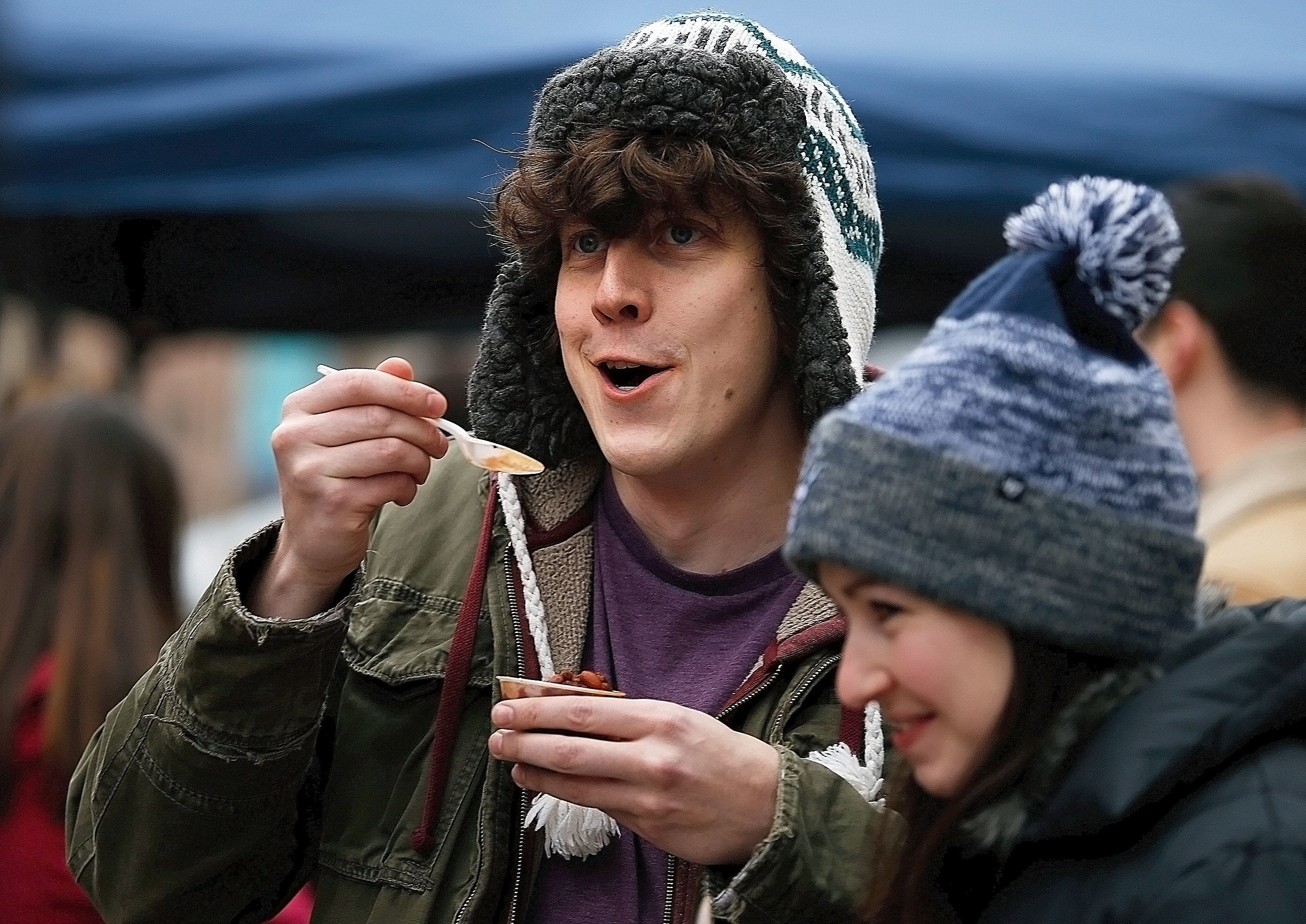 More than 40 restaurants participated in the 20th annual Downtown Ithaca Chili Cook-off on Feb. 10, 2018.