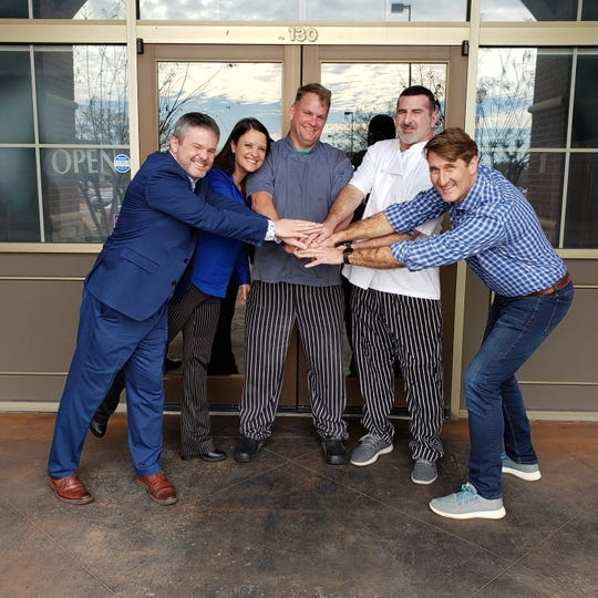 Sal & Mookies will open a third location in Mississippi in Madison. Pictured here, from left to right, Patrick Munn managing member of Sal & Mookie's Madison; Hali Sappington co-managing partner of Sal & Mookie's Madison; Jon Pixler, Mangia Bene Chef for BRAVO!, Broad Street, and Sal & Mookie's; Dan Blumenthal, executive chef and co-owner of Mangia Bene Inc. and Jeff Good, co-owner of Mangia Bene Inc.