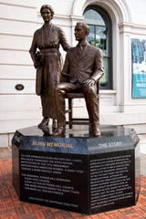 A statue of Febb Ensminger Burn and her son Harry Burn stands at the corner of Clinch Avenue and Market Street in downtown Knoxville on Monday, February 3, 2020.