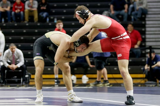 Purdue's Dylan Lydy wrestles Wisconsin's Jared Krattinger during a 174 pound bout in a Big Ten Duals wrestling match, Sunday, Feb. 2, 2020 at Holloway Gymnasium in West Lafayette.