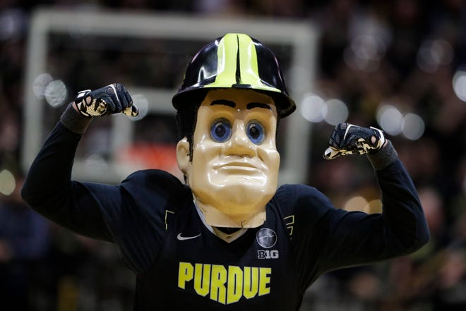 Purdue Pete, the Purdue mascot, on the court during the first half of an NCAA college basketball game between Purdue and Wisconsin in West Lafayette, Ind., Friday, Jan. 24, 2020. (AP Photo/Michael Conroy)