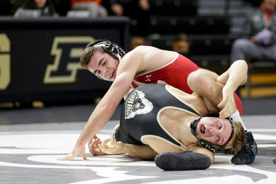 Purdue's Griffin Parriott wrestles Wisconsin's Cole Martin during a 149 pound bout in a Big Ten Duals wrestling match, Sunday, Feb. 2, 2020 at Holloway Gymnasium in West Lafayette.