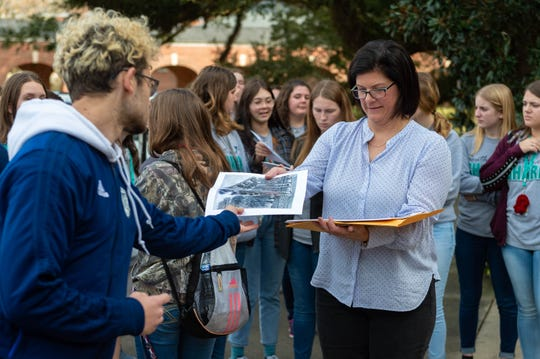 Southside High School art teacher Kim Thibodeaux offers students a chance to capture history through drawings. This year, she had them focus on buildings on UL's campus, and then they donated the drawings to the university.