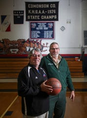 Larry Starnes, left, was a student manager as Phil 'Mountain' Rich was one of the key players on the 1976 Edmonson County High School state basketball championship team. January 30, 2020.