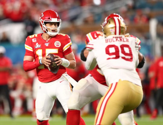 Kansas City Chiefs quarterback Patrick Mahomes (15) drops back to pass against the San Francisco 49ers in the second quarter in Super Bowl LIV at Hard Rock Stadium in Miami Gardens, Florida, on Sunday, Feb. 2, 2020.