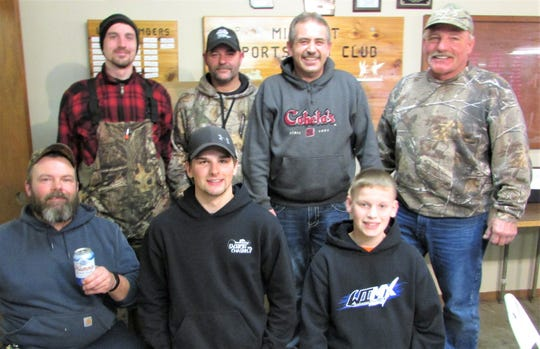 Mishicot Sportsmen's Club recently held its statewide fishing derby and the top winners go as follows: Back row, from left: Aaron Brezil, rainbow trout; Jay Kortens, northern pike; Scott Tadych, bluegill; and Skip Duellmen, brown trout. Front row, from left: Paul Tuschel, bass; Blake Piontek, walleye; and Trenton (T.J.) Havlovitz, crappie.