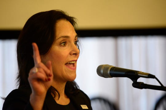 Jane Timken, chair of the Ohio Republican Party, rallied local Republicans during a monthly luncheon.