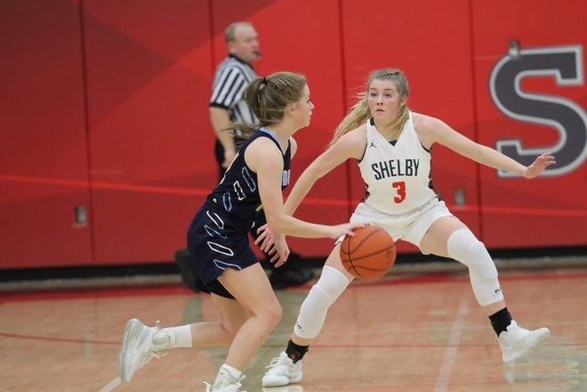 Shelby's Haylee Baker helped the Lady Whippets defeat River Valley last weekend to clinch the outright MOAC title for the second consecutive year.
