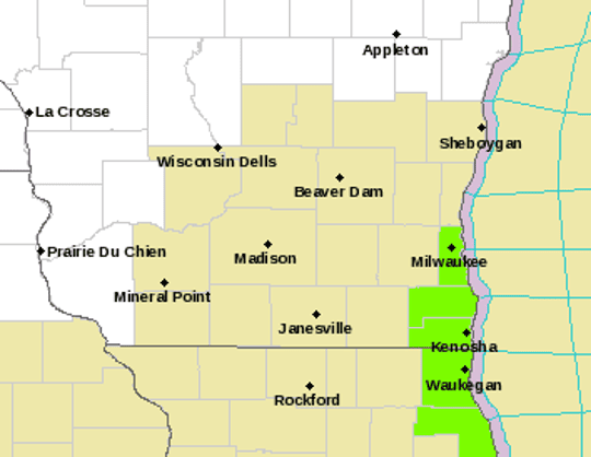 Areas shaded in green are under a lakeshore flood advisory on Monday through much of Tuesday.