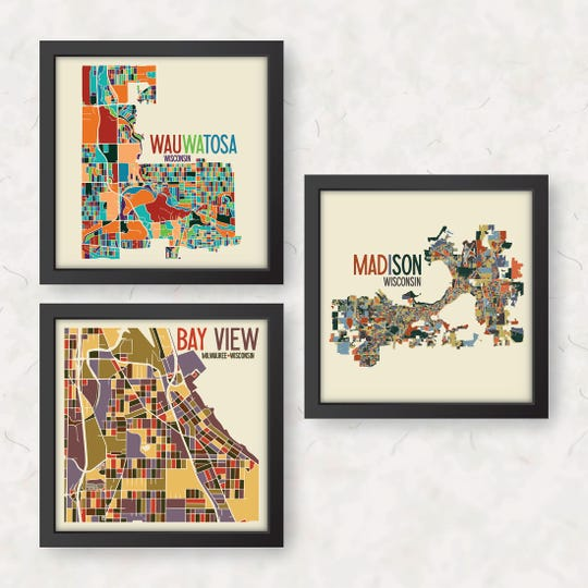 James Steeno sells digitally illustrated art maps of various communties. Shown are Wauwatosa, Bay View and Madison
