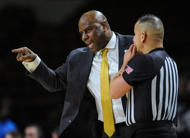 UW-Milwaukee coach Pat Baldwin discusses a call with a ref in a Horizon League men's basketball game vs. Northern Kentucky on Sunday, February 2, 2020, at the UW-Milwaukee Panther Arena in Milwaukee, Wisconsin.
