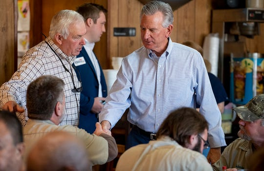 U.S. Senate candidate Tommy Tuberville makes a stop at Martin's Restaurant, in Montgomery, Ala., on Monday February 3, 2020, to kick off a month long bus campaign in the state.