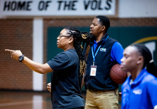Jeff Davis boys basketball head coach LaKenya Knight, and her staff, during the team practice at the school in Montgomery, Ala., on Monday February 3, 2020.
