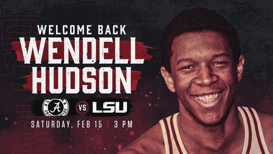 Alabama athletics advertises the jersey retirement of legendary men's basketball player Wendell Hudson, the first African-American scholarship athlete to play at Alabama in 1969. Hudson's No. 20 jersey will be the first to be retired among all sports at Alabama, and the ceremony will take place during the Crimson Tide's Feb. 15 home game against LSU.