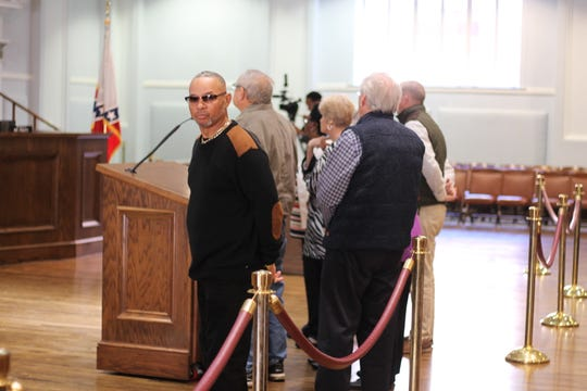 Roger McQueen at a City Council meeting in December to talk about the Southeast Pallet & Box Company
