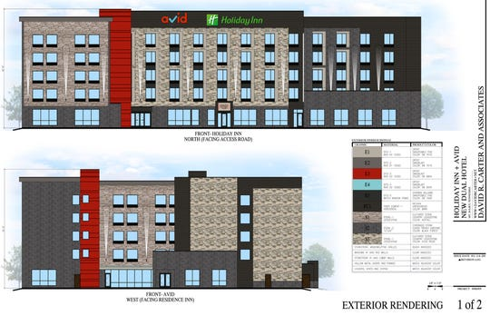 Artist rendering of new dual hotel for Mt. Juliet that will combine the Holiday Inn and Avid brands.
