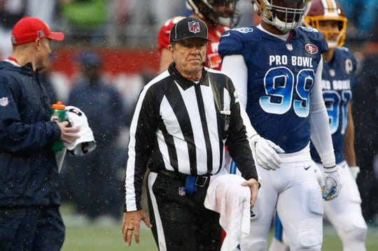 NFL official Jeff Rice of Fort Myers on the field during the first quarter of the NFL Pro Bowl football game at Camping World Stadium on Sunday, Jan. 26, 2020. Rice announced his retirement the following day after 25 years.